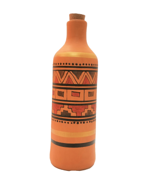 Round water bottle with pattern - Side view