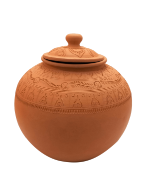 Plain Clay Water Pot With Lid Small - 1