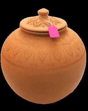 Plain Clay Water Pot With Lid Medium - 1