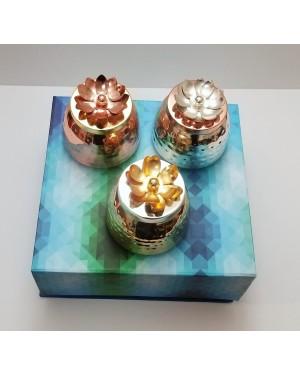 Set of 3 lotus lid pots