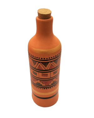 Round water bottle with pattern - Front view