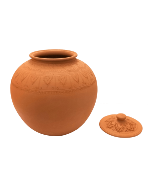 Plain Clay Water Pot With Lid Large - 2